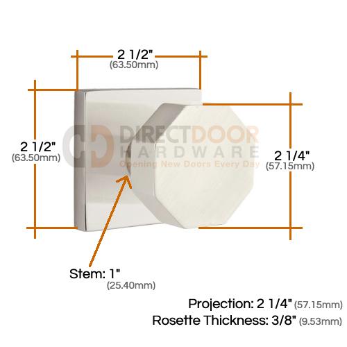 Emtek Octagon Knob with Square Rosette Measurements