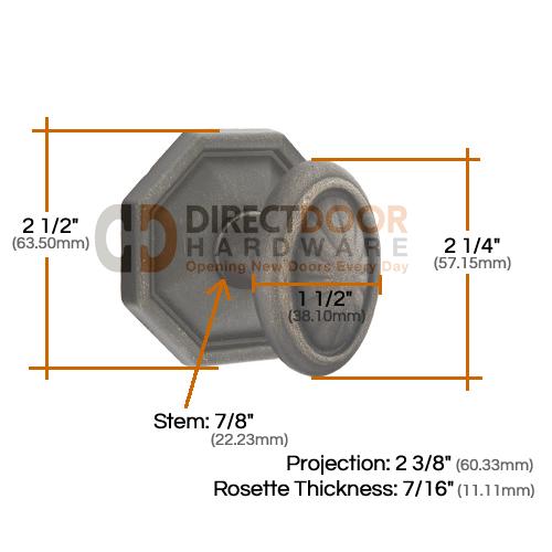 Emtek Parma Knob with Style 15 Rosette Measurements