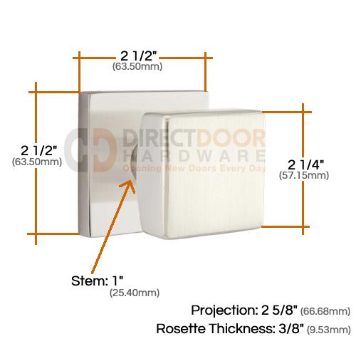 Emtek Square Knob with Square Rosette Measurements