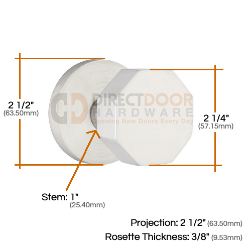 Emtek Stainless Steel Octagon Door Knob with Disk Rosette Measurements