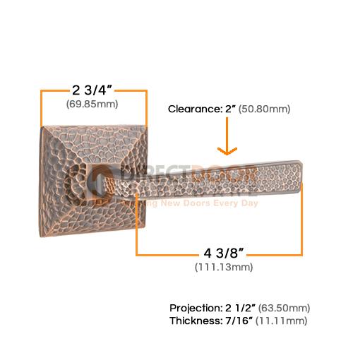Emtek Hammered Door Lever with Hammered Rosette Measurements