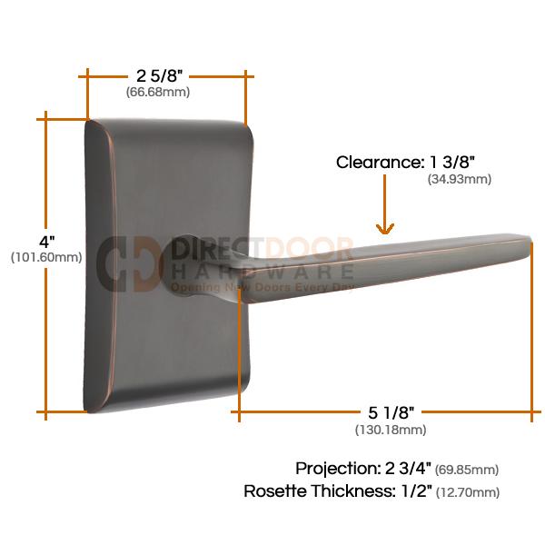 Emtek Hermes Lever with Neos Rosette Measurements