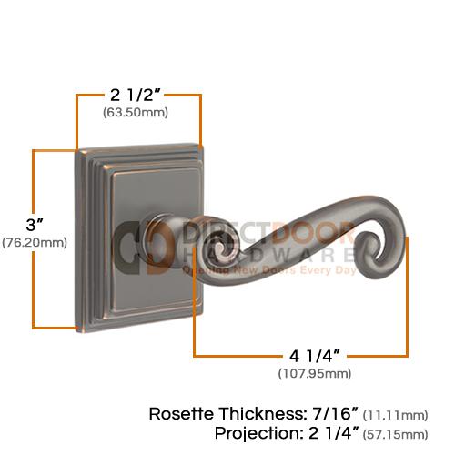 Emtek Rustic Lever with Wilshire Rosette Measurements