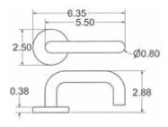 Emtek Cologne Lever Handle Measurements