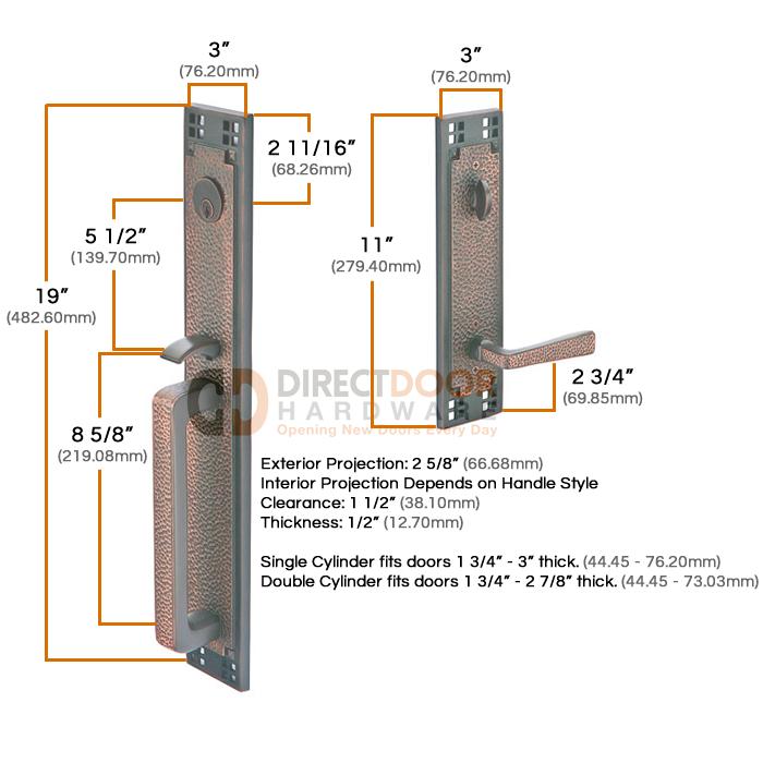Emtek Arts and Crafts Full Length Handleset Measurements