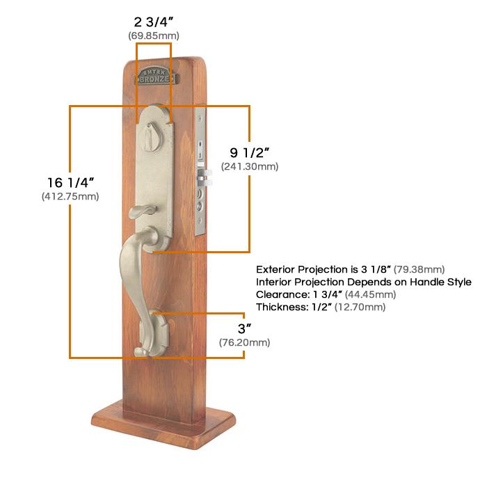 Emtek Cheyenne Mortise Entrance Handleset Measurements