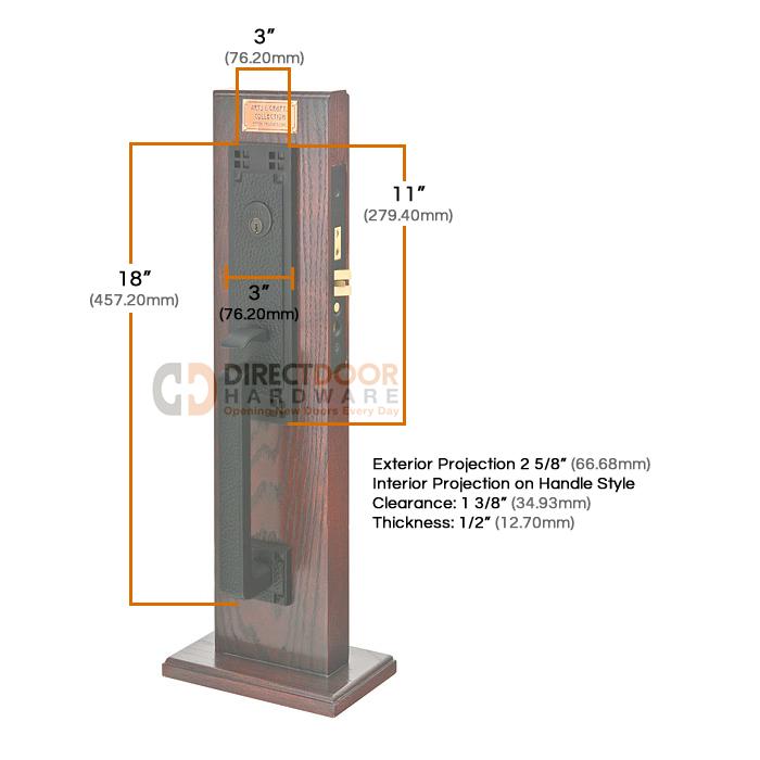 Emtek Craftsman Mortise Entrance Handleset Measurements