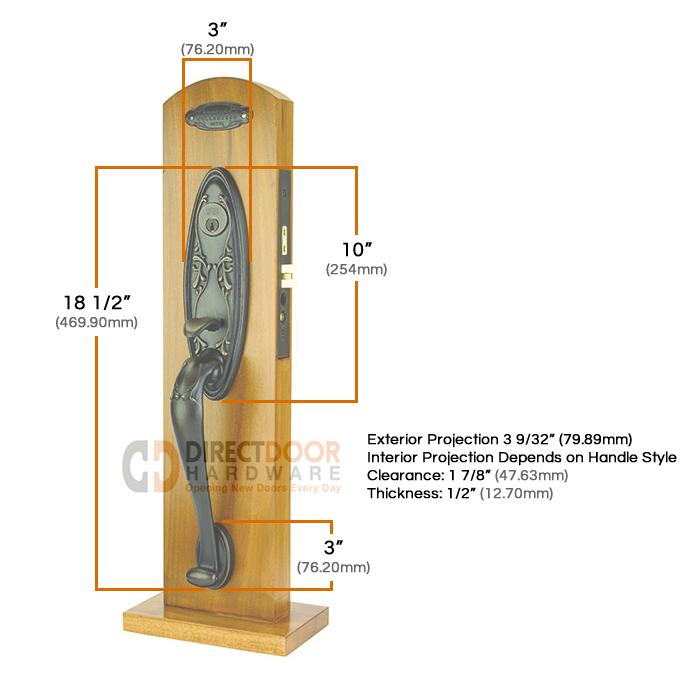 Emtek Da Vinci Mortise Entrance Handleset Measurements