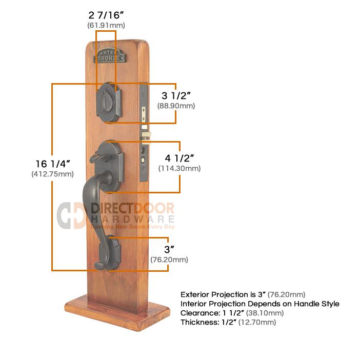Emtek Denver Mortise Entrance Handleset Measurements