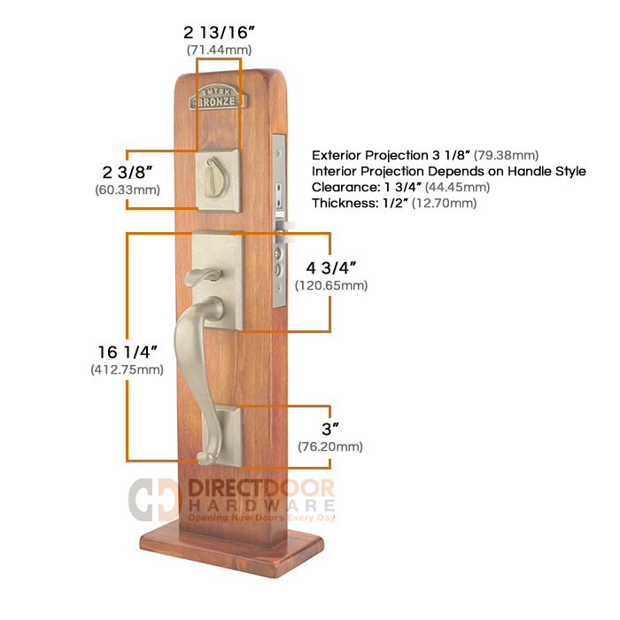 Emtek Rectangular Sectional Mortise Handleset Measurements