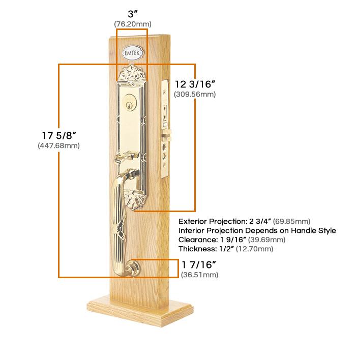 Emtek Regency Mortise Entrance Handleset Measurements