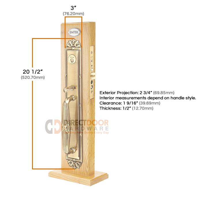 Emtek Versailles Mortise Entrance Handleset Measurements