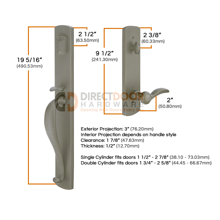 Emtek Sandcast Greeley Grip by Grip Handleset Measurements