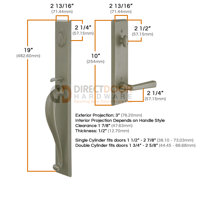 Emtek Rectangular Full Length Handleset Measurements