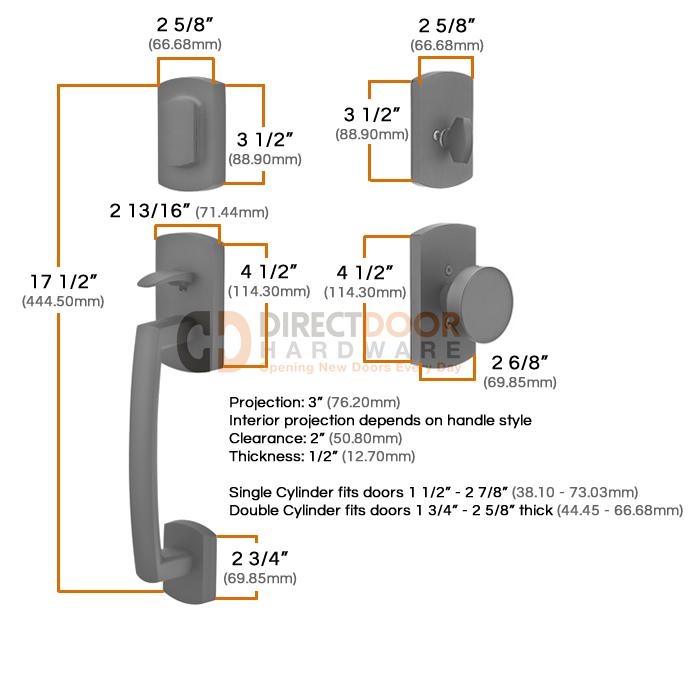 Emtek Sandcast Ridgemont Grip by Grip Handleset Measurements