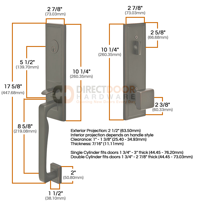 Emtek Zeus Entrance Handleset Measurements