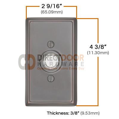 Emtek Brass Rectangular Door Bell Cover Measurements