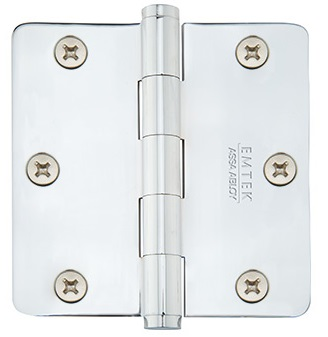 Emtek 3.5 Inch Residential Duty Door Hinges with 1/4 Inch Round Corners  (pair)