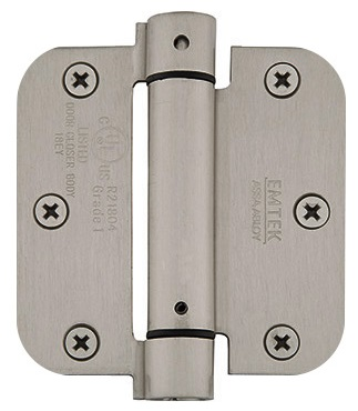 Emtek 3 1/2 Inch Steel Spring Door Hinges with 5/8 Inch Round Corners  (pair)