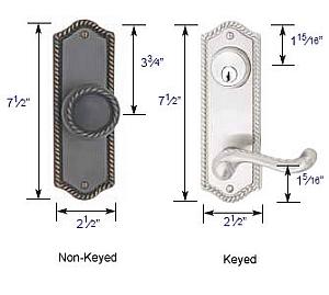 """Emtek Rope 3 5/8"""" Bore Sideplate Lock Specs"""