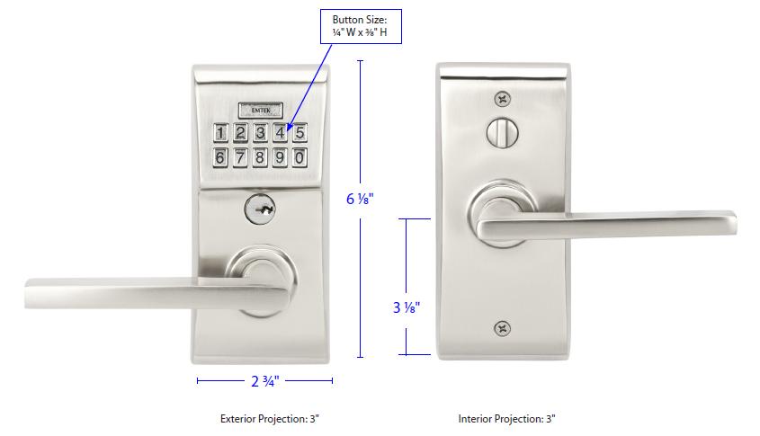 Emtek Modern Keyless Leverset Measurements