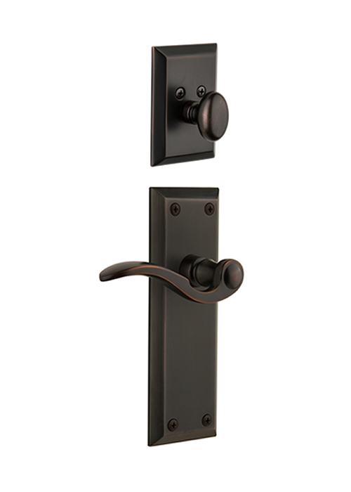 Grandeur Fifth Avenue Handleset with Bellagio Lever - (Interior Half Only, with Deadbolt)