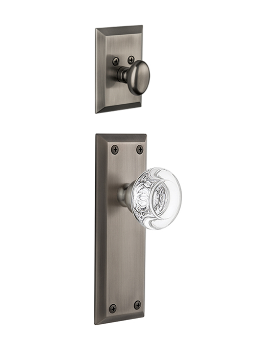 Grandeur Fifth Avenue Handleset with Berdeaux Knob - (Interior Half Only, with Deadbolt)
