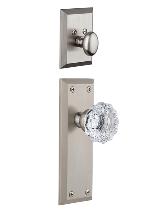 Grandeur Fifth Avenue Handleset with Fontainebleau Knob - (Interior Half Only, with Deadbolt)