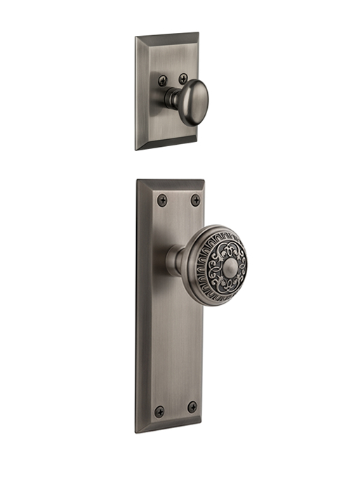 Grandeur Fifth Avenue Handleset with Windsor Knob - (Interior Half Only, with Deadbolt)