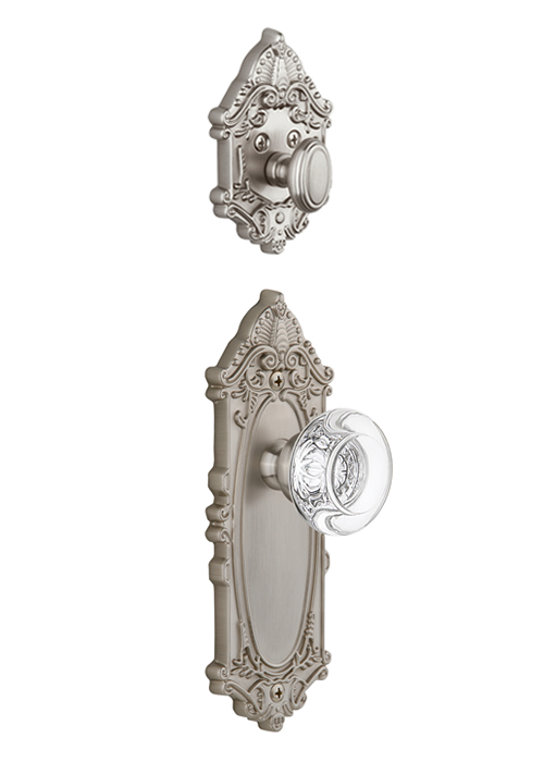 Grandeur Grande Victorian Handleset with Berdeaux Knob - (Interior Half Only, with Deadbolt)