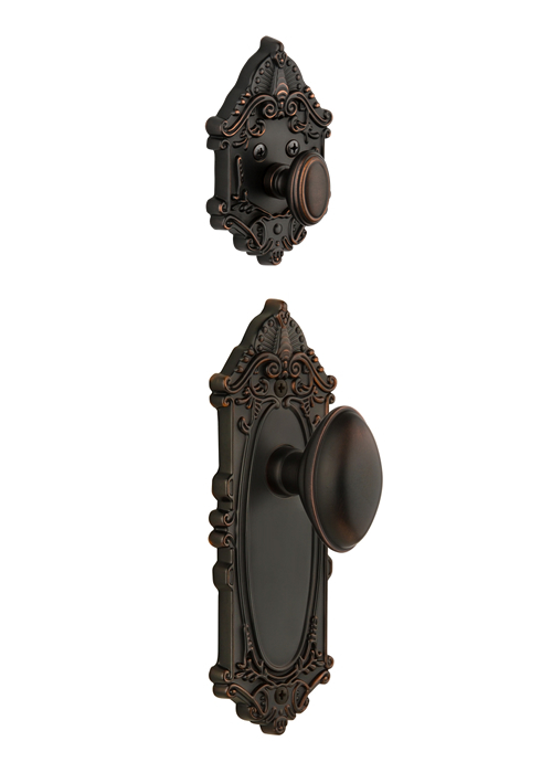 Grandeur Grande Victorian Handleset with Eden Prairie Knob - (Interior Half Only, with Deadbolt)