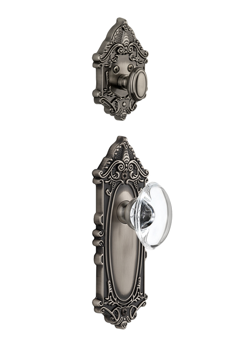 Grandeur Grande Victorian Handleset with Provence Knob - (Interior Half Only, with Deadbolt)