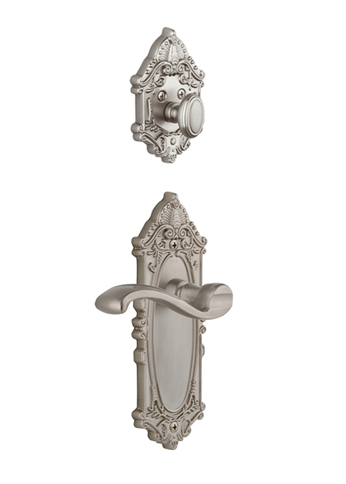 Grandeur Grande Victorian Handleset with Portofino Lever - (Interior Half Only, with Deadbolt)