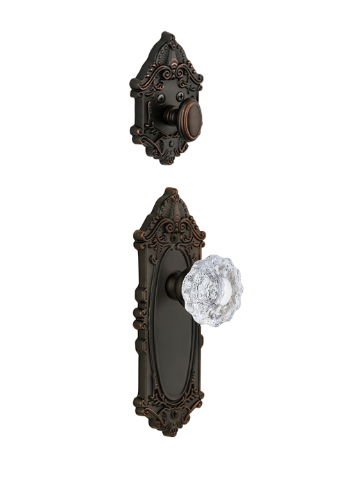 Grandeur Grande Victorian Handleset with Versailles Knob - (Interior Half Only, with Deadbolt)