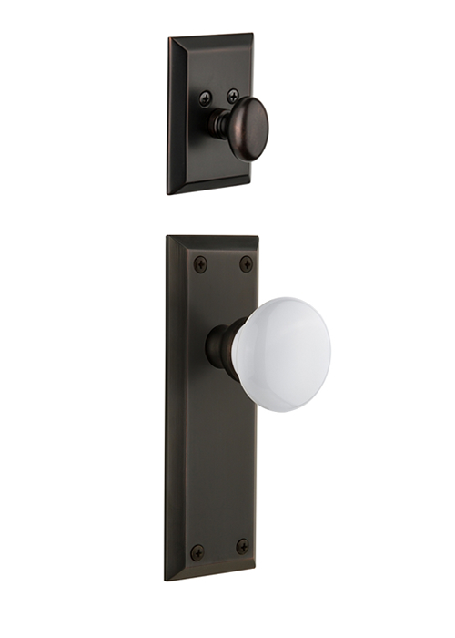 Grandeur Fifth Avenue Handleset with Hyde Park Knob - (Interior Half Only, with Deadbolt)
