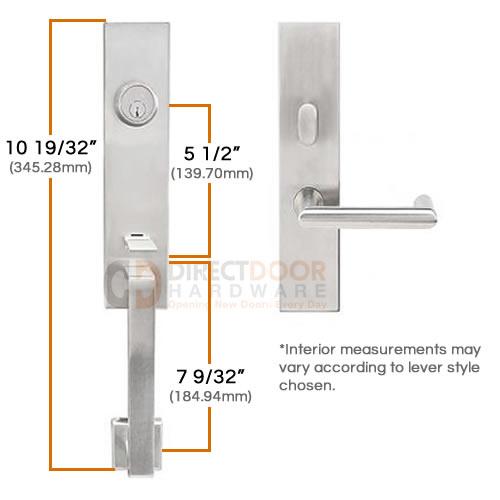 Inox Manhattan Tubular Handleset Measurements