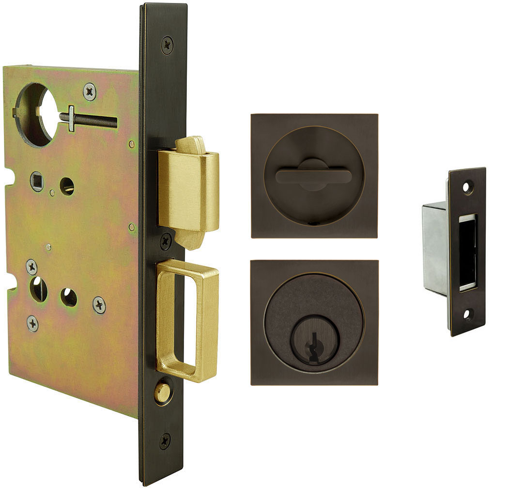 Inox PD8450 Mortise Pocket Door Entry Lockset, FH23 Square Flush Pull
