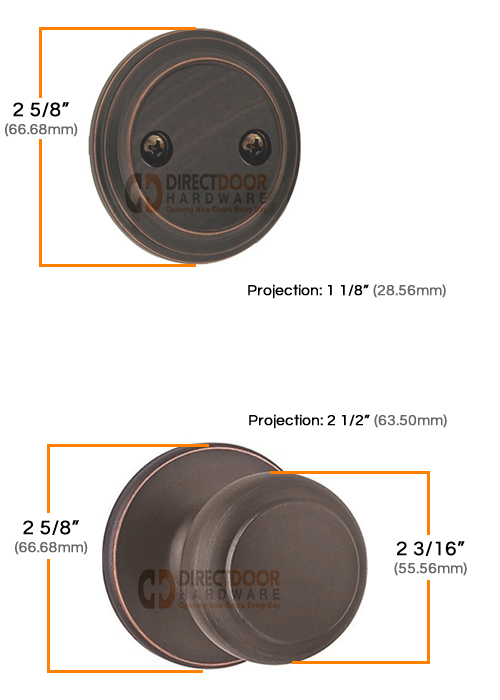 Kwikset Cove Interior Dummy Handleset Measurements
