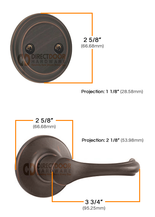 Kwikset Dorian Interior Dummy Handleset Measurements