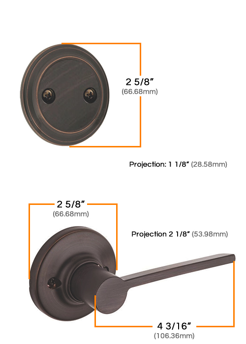 Kwikset Right Hand Ladera Interior Dummy Handleset Measurements