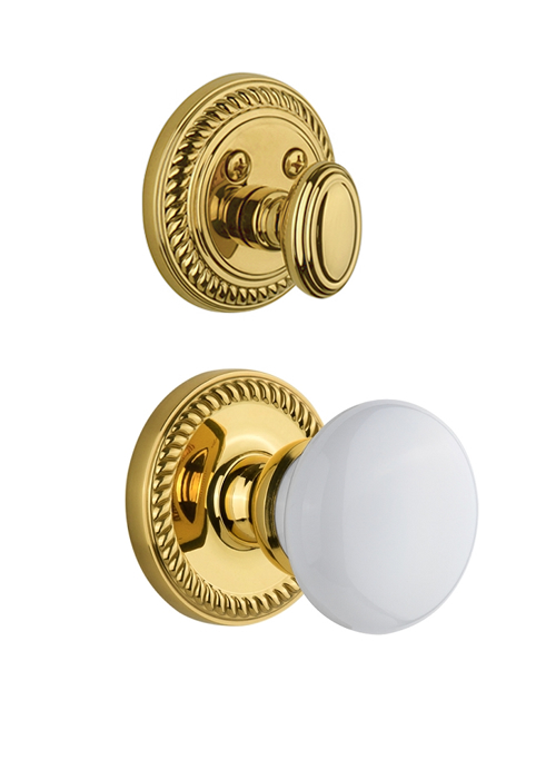Grandeur Newport Handleset with Hyde Park Knob - (Interior Half Only, with Deadbolt)
