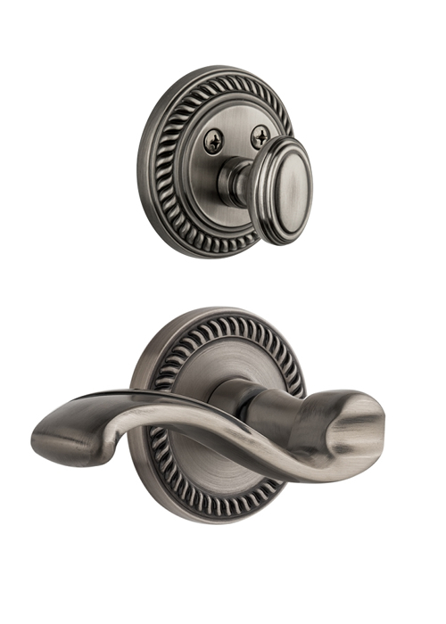 Grandeur Newport Handleset with Portofino Lever - (Interior Half Only, with Deadbolt)