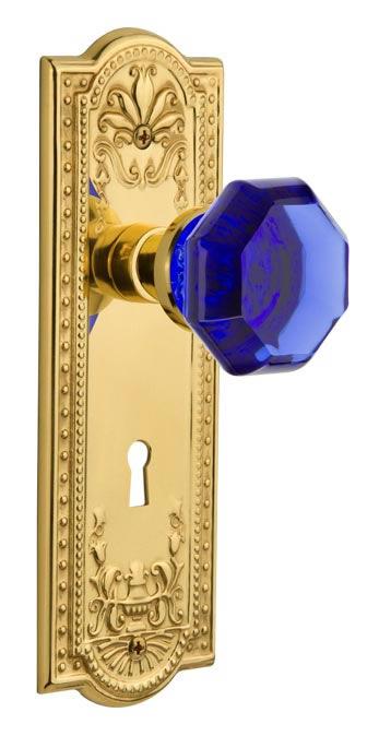 Nostalgic Warehouse 723384 Meadows Plate Double Dummy Waldorf Cobalt Door Knob in Unlaquered Brass