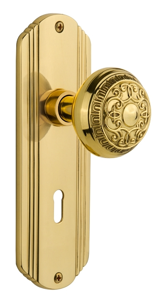 Door Brass Locks Antique Vintage Hardware Set Knob Mortise 2-1//4 in Handle New