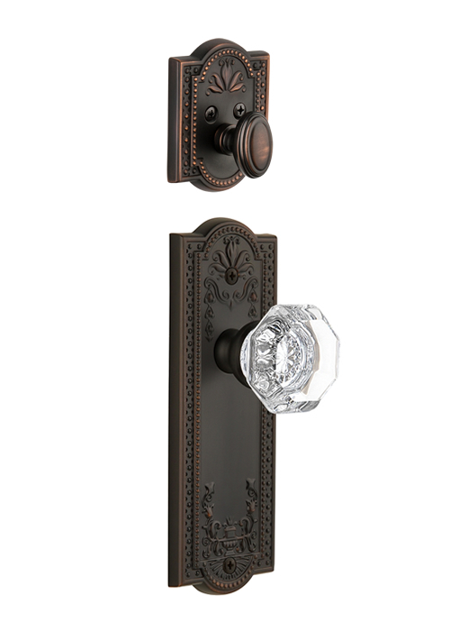 Grandeur Parthenon Handleset with Chambord Knob - (Interior Half Only, with Deadbolt)