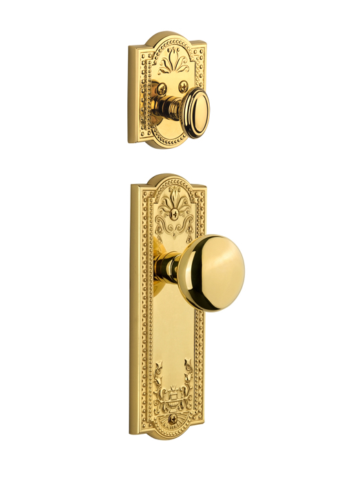 Grandeur Parthenon Handleset with Fifth Avenue Knob - (Interior Half Only, with Deadbolt)