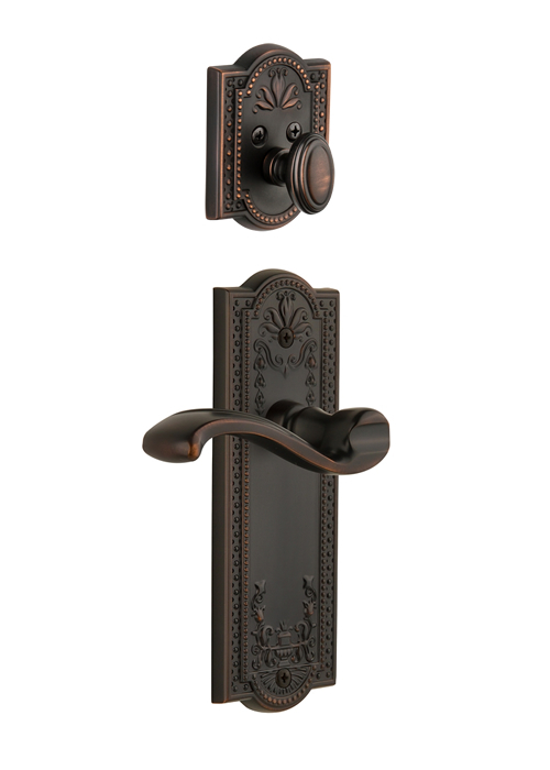 Grandeur Parthenon Handleset with Portofino Lever - (Interior Half Only, with Deadbolt)