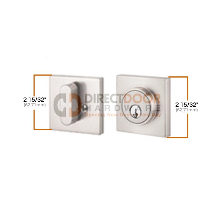 Sure-Loc Modern Square Single Cylinder Deadbolt Measurements