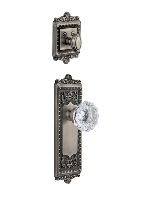 Grandeur Windsor Handleset with Fontainebleau Knob - (Interior Half Only, with Deadbolt)