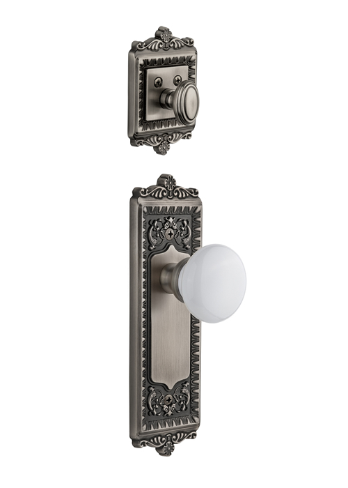 Grandeur Windsor Handleset with Hyde Park Knob - (Interior Half Only, with Deadbolt)